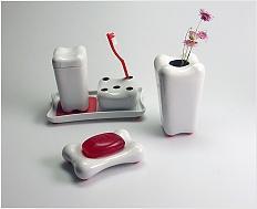 Design porcelánových koupelnových doplňků\